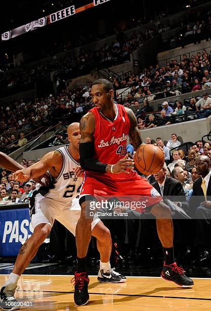 Rasual Butler of the Los Angeles Clippers looks to move against Richard Jefferson of the San Antonio Spurs during the game on November 10 2010 at the...