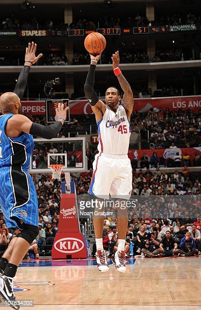 Rasual Butler of the Los Angeles Clippers shoots the ball during a game against the Orlando Magic on December 12 2010 at Staples Center in Los...