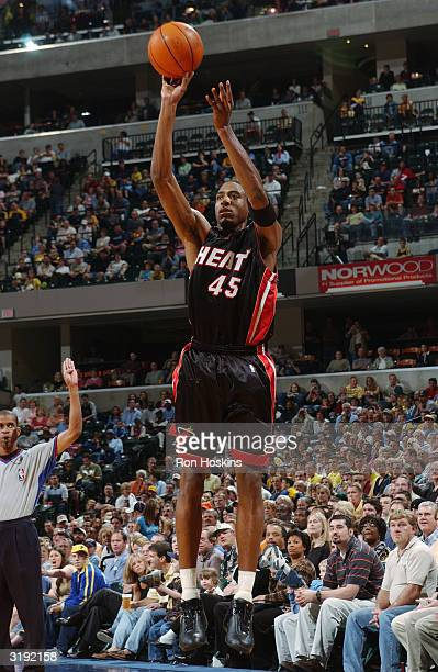 Rasual Butler of the Miami Heat shoots against the Indiana Pacers during the game at Conseco Fieldhouse on March 28, 2004 in Indianapolis, Indiana....