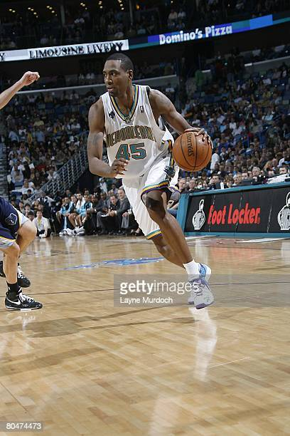 Rasual Butler of the New Orleans Hornets moves the ball during the NBA game against the Memphis Grizzlies on February 9 2008 at the New Orleans Arena...