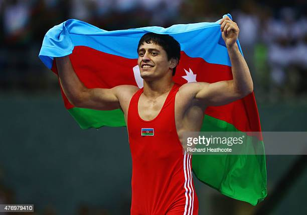 Rasul Chunayev of Azebaijan celebrates after winning the gold medal in the Men's 71kg GrecoRoman final against Balint Korpasi of Hungary during day...