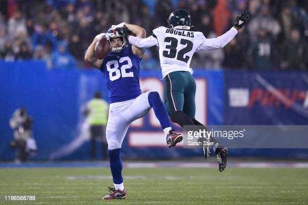 Rasul Douglas of the Philadelphia Eagles breaks up a pass intended for Kaden Smith of the New York Giants during the second half of the game at...