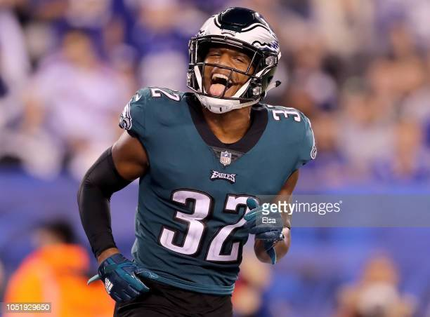 Rasul Douglas of the Philadelphia Eagles celebrates in the fourth quarter against the New York Giants on October 112018 at MetLife Stadium in East...