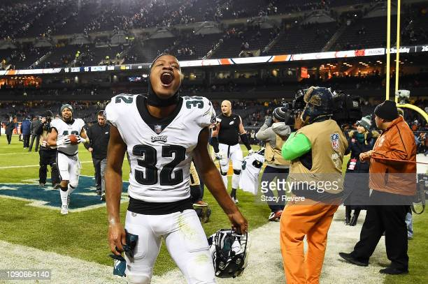 Rasul Douglas of the Philadelphia Eagles celebrates their 16 to 15 win over the Chicago Bears in the NFC Wild Card Playoff game at Soldier Field on...