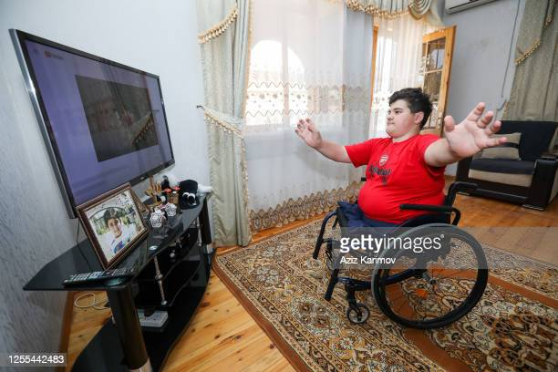 Rasul Zakiyev Paralympic dancer trains with wheelchair trains at home during the governmentordered lockdown to stop spread of COVID19 on July 10 2020...
