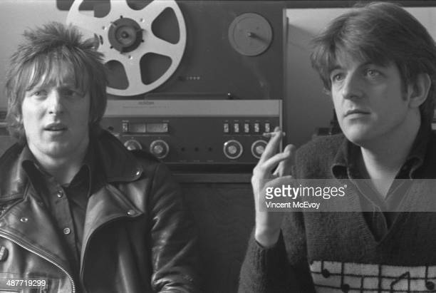 Rat Scabies of The Damned, with producer Nick Lowe, at the offices of Stiff Records, London, 1977.