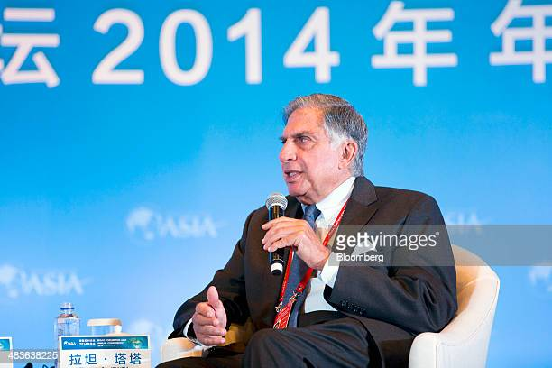 Ratan Tata chairman emeritus of Tata Group speaks during a session at the Boao Forum for Asia in Boao Hainan China on Wednesday April 9 2014 The Boao...
