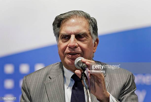 Ratan Tata chairman of Tata Group speaks during the Tata Steel Ltd annual general meeting in Mumbai India on Tuesday Aug 14 2012 Tata Steel Ltd...