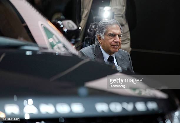 Ratan Tata chairman of Tata Motors Ltd pauses during a television interview on the second press day of the Geneva International Motor Show in Geneva...