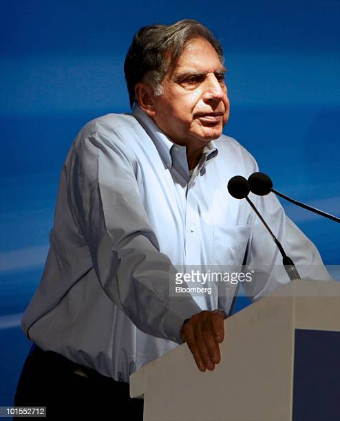 Ratan Tata chairman of Tata Sons Ltd speaks at the inauguration of a Tata Motors Ltd Nano manufacturing plant in Sanand Taluka India on Wednesday...