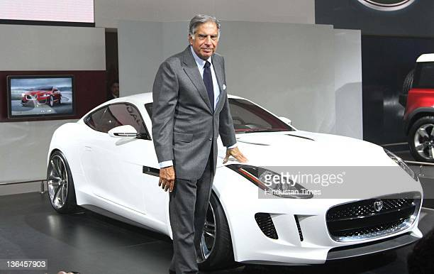 Ratan Tata Chairman Tata Group at Jaguar Pavilion during 11th Auto Expo held at Pragati Maidan on January 5 2012 in New Delhi India Tata Motorsowned...