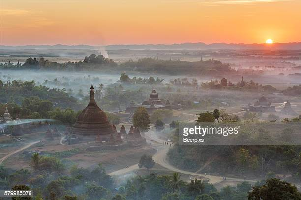 Ratanabon Paya in Mrauk U, Myanmar. Top view with mist at sunlight.