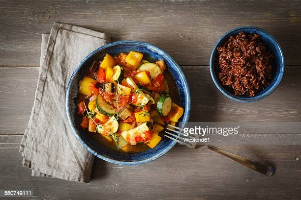 Ratatouille with red wholegrain rice