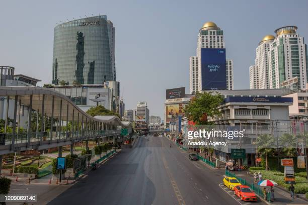 Ratchadamri Road is seen almost empty amid Coronavirus outbreak on April 03, 2020 in Bangkok, Thailand. Thailand's Health Ministry recorded a total...