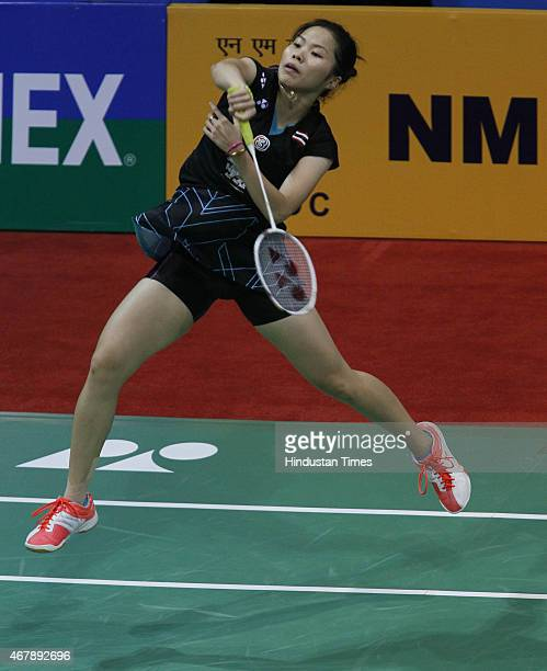 Ratchanok Intanon badminton player from Thailand in action against Carolina Marin badminton player from Spain during the Yonex Sunrise India Open...