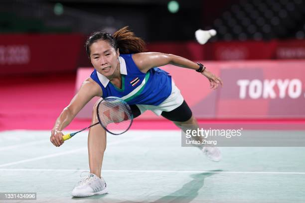 Ratchanok Intanon of Team Thailand competes against Tai Tzu-ying of Team Chinese Taipei during a Women's Singles Quarterfinal match on day seven of...