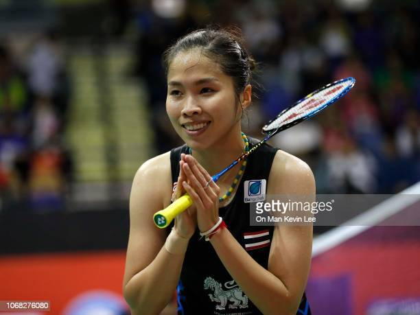 Ratchanok Intanon of Thailand acknowledges to spectators after defeating Akane Yamaguchi of Japan during quarterfinals of Women's Single of Yonex...
