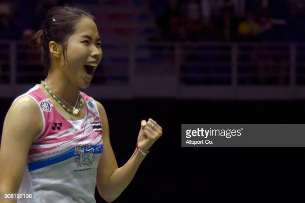 Ratchanok Intanon of Thailand celebrates after she defeated Tai Tzu Ying of Chninese Taipei during the Women's Singles Final during the Perodua...