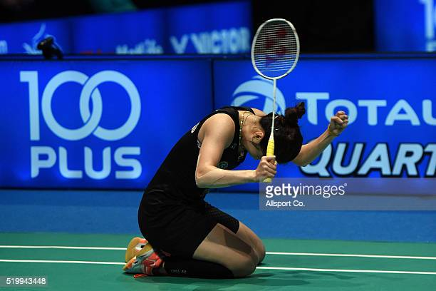 Ratchanok Intanon of Thailand celebrates after she defeated Wang Yihan of China during the Semi Finals of the Women Singles during the BWF World...