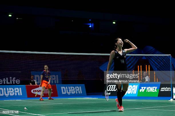 Ratchanok Intanon of Thailand celebrates her victory after the Women's Singles match against Wang Shixian of China during day three of the BWF Dubai...
