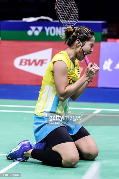 Ratchanok Intanon of Thailand celebrates the victory after the Women's Singles match against Se Young An of Thailand during day five of the Sudirman...