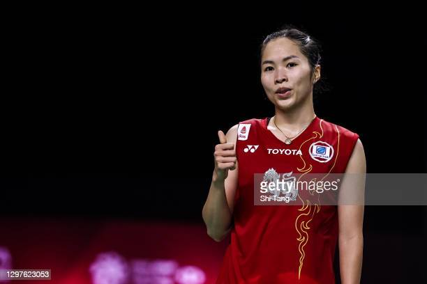 Ratchanok Intanon of Thailand celebrates the victory in the Women's Singles second round match against Sung Ji Hyun of Korea on day three of the...