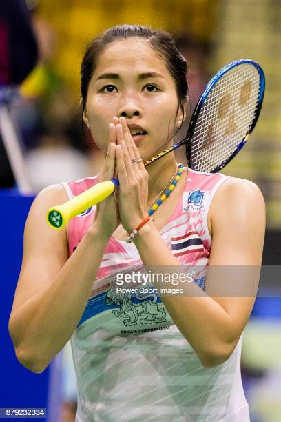 Ratchanok Intanon of Thailand celebrates winning the match the women singles round 16 match against Yulia Yosephin Susanto of Indonesia at the BWF...