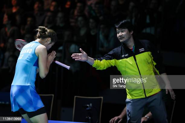 Ratchanok Intanon of Thailand celebrates with her coach Pattapol Ngensrisuk after the Women's Singles semi finals match against Nozomi Okuhara of...