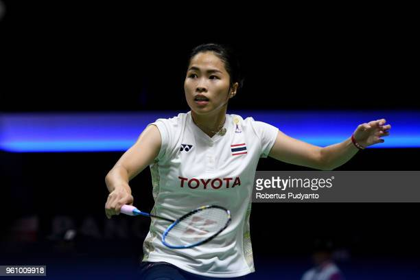 Ratchanok Intanon of Thailand competes against Cheung Ngan Yi of Hong Kong during Preliminary Round on day two of the BWF Thomas Uber Cup at Impact...