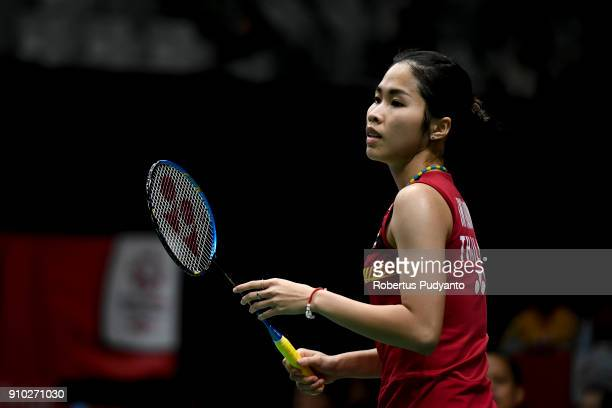 Ratchanok Intanon of Thailand competes against Fitriani of Indonesia during the Women's Singles Round 16 match of the Daihatsu Indonesia Masters 2018...