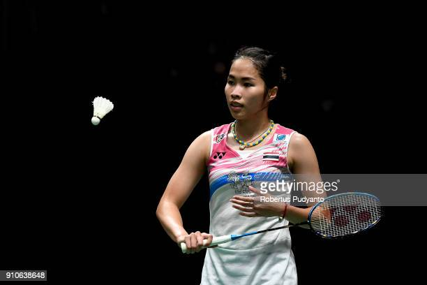 Ratchanok Intanon of Thailand competes against Nozomi Okuhara of Japan during the Women's Singles Quarter Final match of the Daihatsu Indonesia...