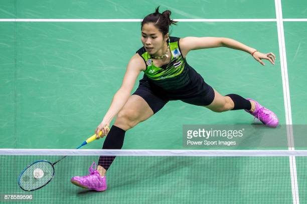 Ratchanok Intanon of Thailand competes against Porntip Buranaprasertsuk of Thailand during their women singles round 32 match of the BWF Hong Kong...