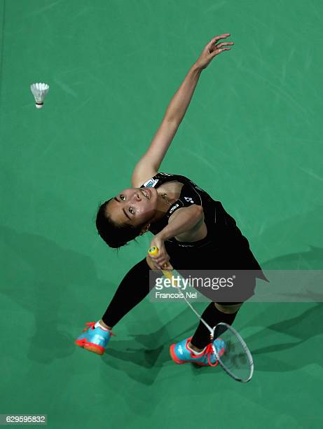 Ratchanok Intanon of Thailand competes against Sung Ji Hyun of Korea in the Womone's single match during day one of the BWF Dubai World Superseries...