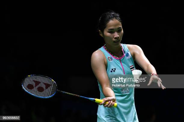 Ratchanok Intanon of Thailand competes against Sung Ji Hyun of Korea during the Women's Singles Quarterfinal match on day four of the Blibli...