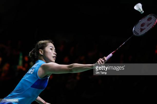 Ratchanok Intanon of Thailand competes in the Women's Single final match against Akane Yamaguchi of Japan during day six of the Yonex German Open on...