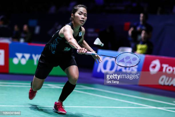 Ratchanok Intanon of Thailand competes in the Women's Singles quarter finals match against Chen Yufei of China on day four of the French Open at...