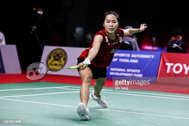 Ratchanok Intanon of Thailand competes in the Women's Singles second round match against Sung Ji Hyun of Korea on day three of the Toyota Thailand...