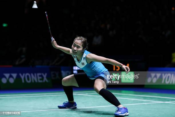 Ratchanok Intanon of Thailand competes in the Women's Singles semi finals match against Nozomi Okuhara of Japan during day five of the Yonex German...