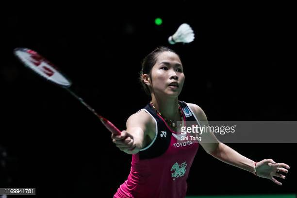 Ratchanok Intanon of Thailand competes in the Women's Singles semi finals match against Nozomi Okuhara of Japan during day six of the Total BWF World...