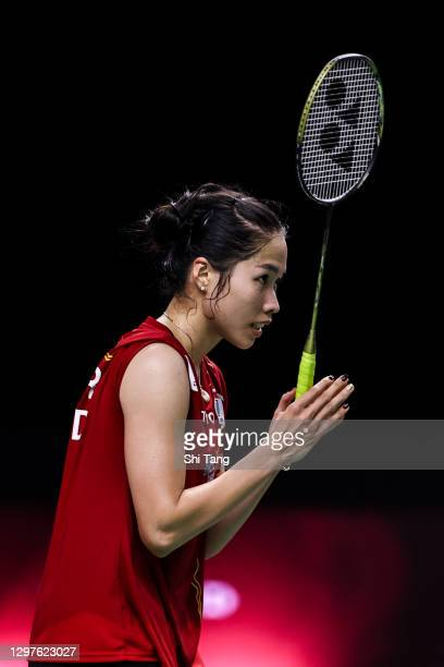 Ratchanok Intanon of Thailand greets Sung Ji Hyun of Korea after their Women's Singles second round match on day three of the Toyota Thailand Open on...