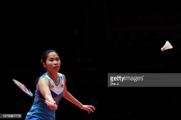 Ratchanok Intanon of Thailand hits a shot against Pusarla V Sindhu of India during the women's semifinals match on day 4 of the HSBC BWF World Tour...