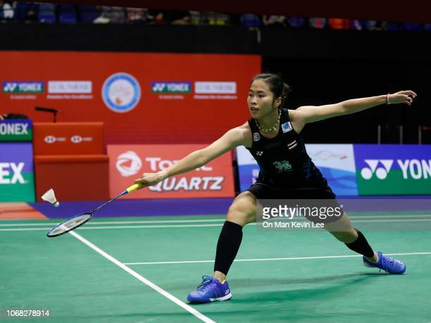 Ratchanok Intanon of Thailand in action against Akane Yamaguchi of Japan during quarterfinals of Women's Single of Yonex Sunrise Hong Kong Open 2018...
