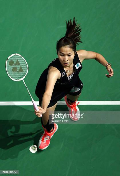 Ratchanok Intanon of Thailand in action against Shixian Wang of China in the Women's Singles match during day three of the BWF Dubai World...