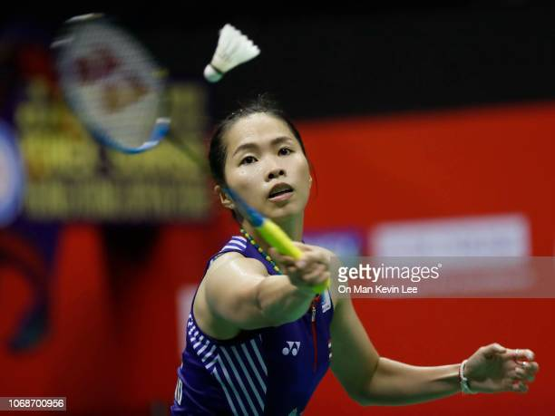 Ratchanok Intanon of Thailand in action against Sung Ji Hyun of Korea during the semifinal of Women's Single on Day 5 of Yonex Sunrise Hong Kong Open...
