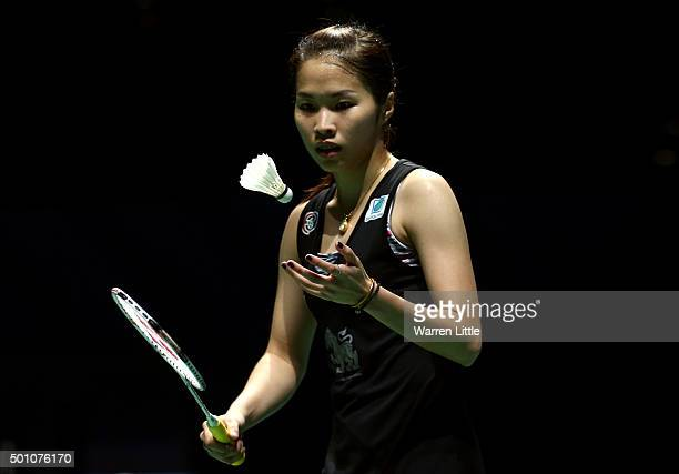 Ratchanok Intanon of Thailand in action against Yihan Wang of China in the semi final of the Women's Singles match during day four of the BWF Dubai...