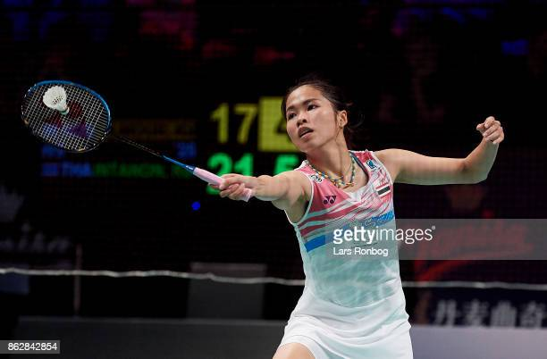 Ratchanok Intanon of Thailand in action during the day one at the DANISA Denmark Open Badminton tournament at Odense Idratshal on October 18 2017 in...