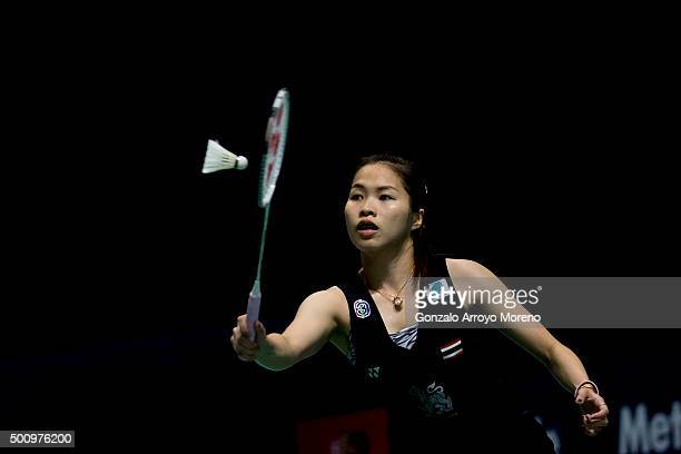 Ratchanok Intanon of Thailand in action in the Women's Singles match agianst Wang Shixian of China during day three of the BWF Dubai World...