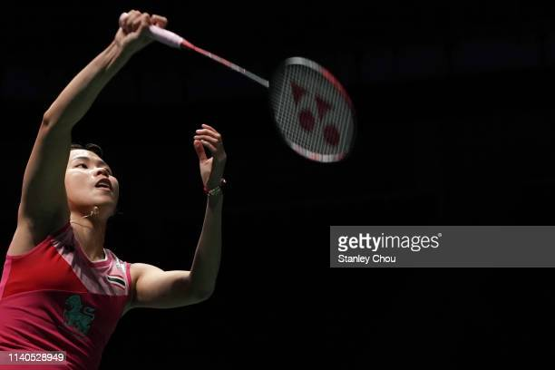 Ratchanok Intanon of Thailand in action on day four of the Badminton Malaysia Open at Axiata Arena on April 05 2019 in Kuala Lumpur Malaysia