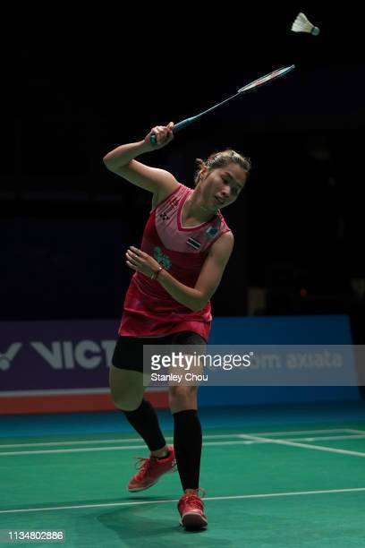 Ratchanok Intanon of Thailand in action on day three of the Badminton Malaysia Open at Axiata Arena on April 4 2019 in Kuala Lumpur Malaysia