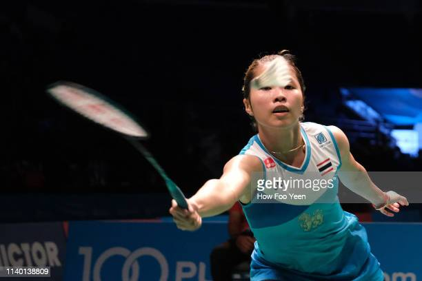 Ratchanok Intanon of Thailand in action on day two of the Badminton Malaysia Open at Axiata Arena on April 03 2019 in Kuala Lumpur Malaysia